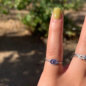.925 Silver Blue Eye Ring Size 5